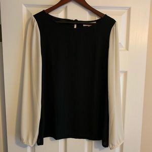 Black and white color block blouse from LOFT